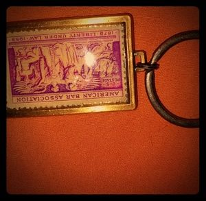 Vintage genuine 2 weapon postage stamp keychain